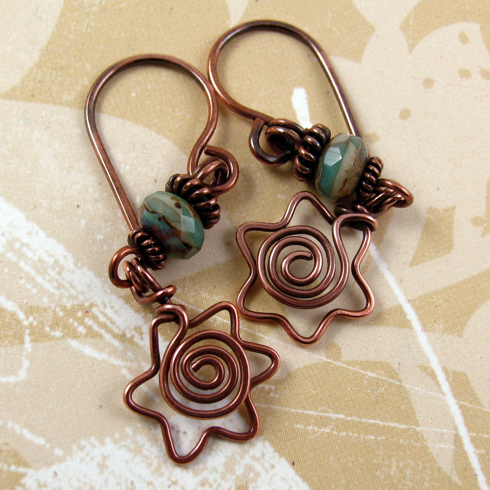 DAVIDKA star of david copper wire earrings with spiral centers and teal green blue picasso czech glass beads