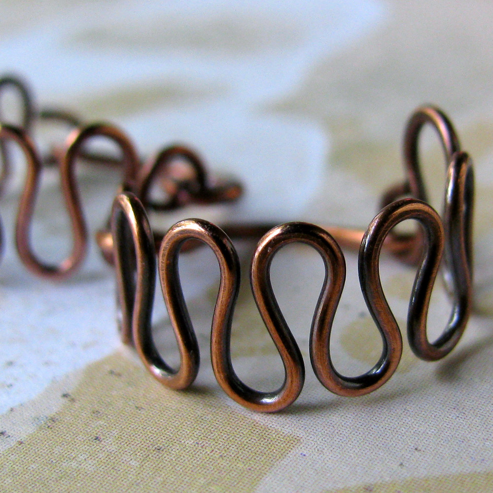 ZIGZAGS solid copper wire earrings handworked loops
