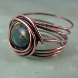 bird's nest copper and czech picasso texture glass ring