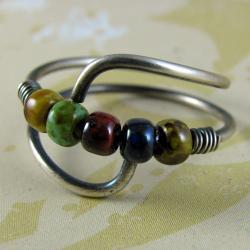 winged ring sterling silver czech picasso beads adjustable gypsy boho casual hippie